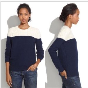 Madewell color block cable knit